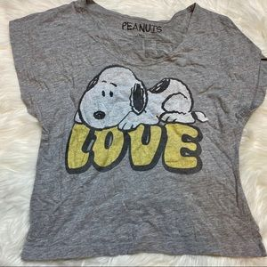 Grey Snoopy Graphic T-Shirt M